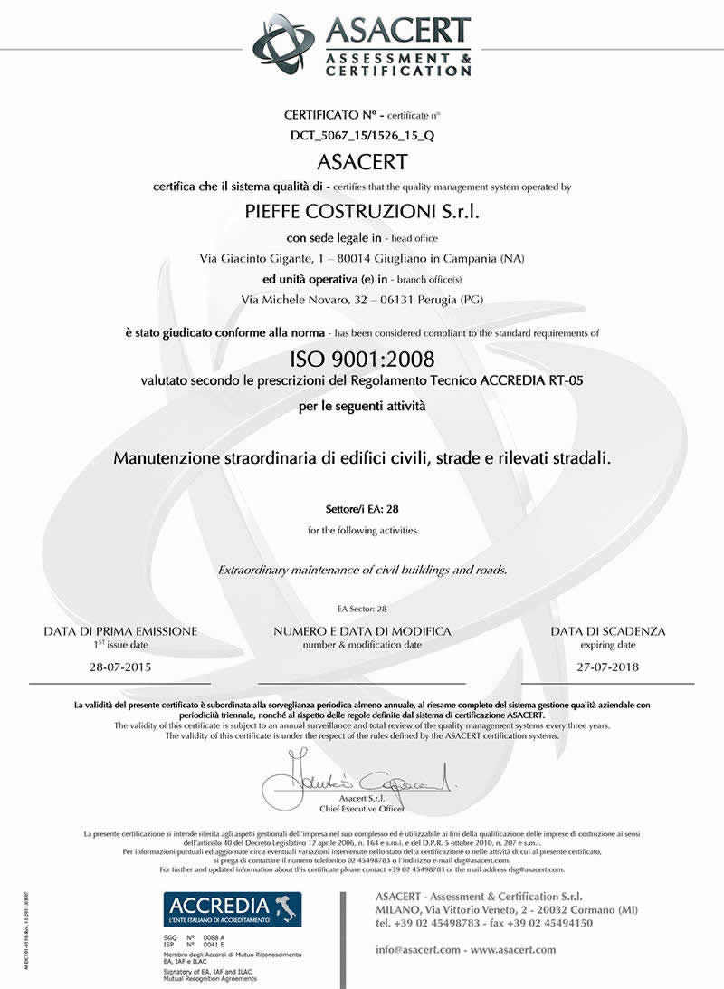 Certificazioni pieffecostruzioni - Pieffe immobiliare ...